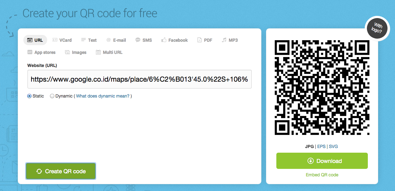 cara membuat qr code lokasi melalui